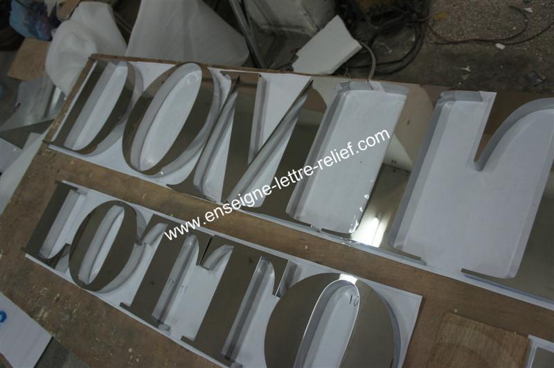 lettre relief inox poli miroir 212